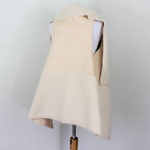 Sweaters - Faux Suede Shearing Vest Wrap Poncho Cream S/M